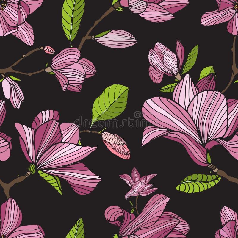Kwiatonośna magnolia, menchia barwi na ciemnym tle Ręka rysujący kolorowy bezszwowy wzór z kwitnieniem kwitnie wektor royalty ilustracja