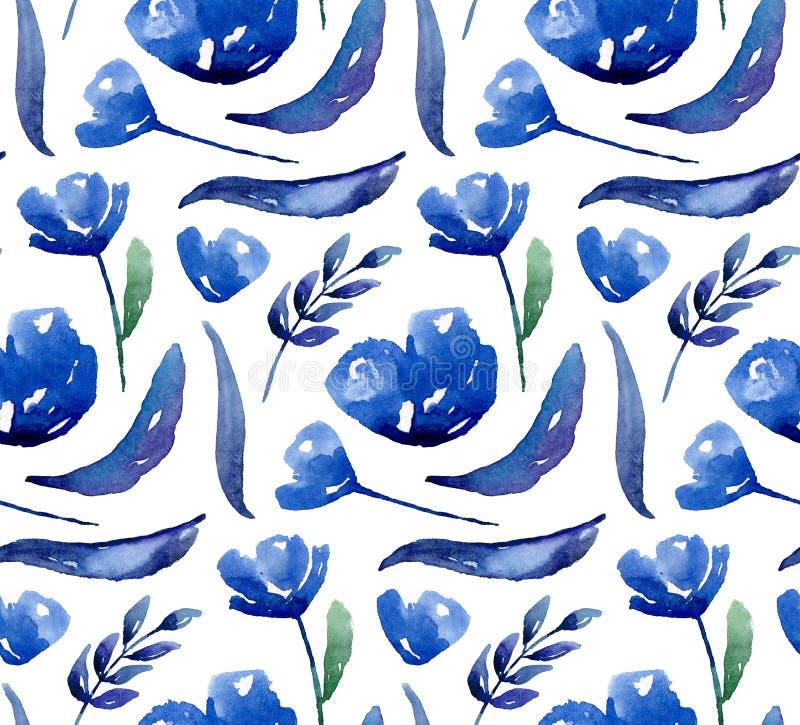 kwiatu błękitny wzór Akwareli marynarka wojenna kwiecista royalty ilustracja