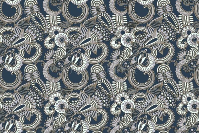 Kwiatu bezszwowy wzór, Paisley indyjski projekt ilustracji