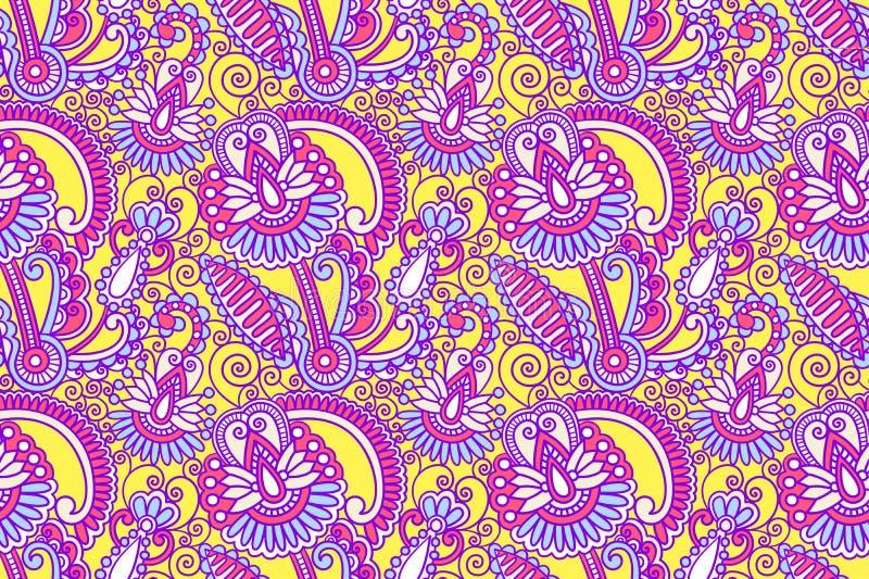 Kwiatu bezszwowy wzór, Paisley indyjski projekt ilustracja wektor