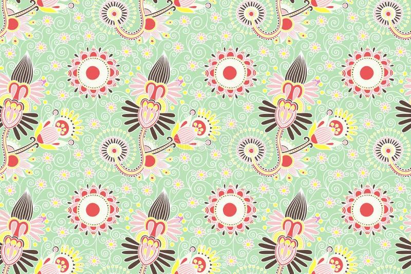 Kwiatu bezszwowy wzór, Paisley indyjski projekt royalty ilustracja