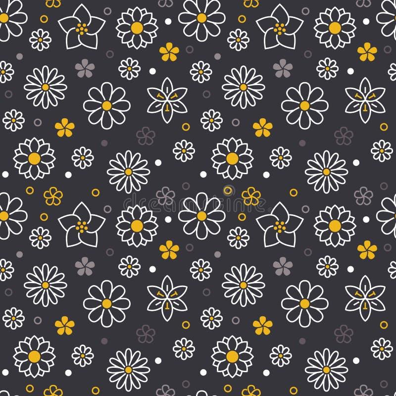Kwiatu bezszwowy wzór z mieszkanie linii ikonami Kwiecistego tła piękne ogrodowe rośliny chamomile, słonecznik, wzrastali ilustracji