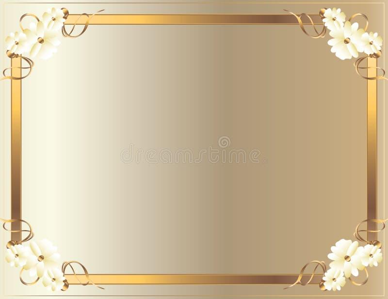 kwiatu biel ramowy złocisty ilustracja wektor