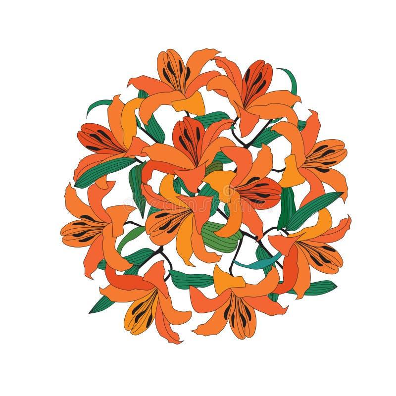 Kwiatu bukiet odizolowywający na białym tle ilustracji