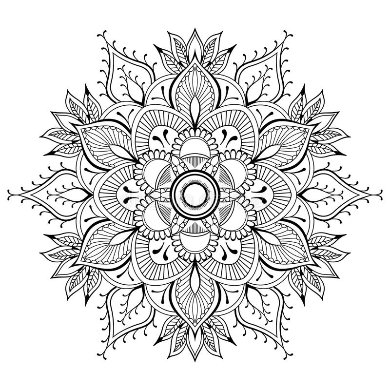 Kwiatu czarny mandala Orientała wzór, wektorowa ilustracja Islam, język arabski, Indiańscy ottoman motywy Kolorystyki książki str ilustracji