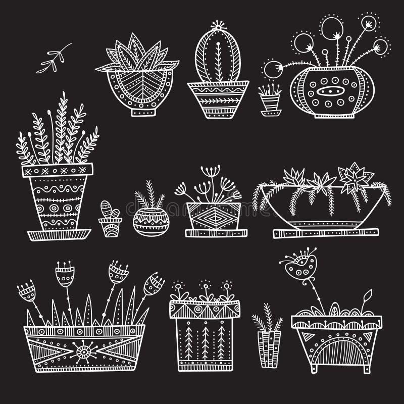 Kwiatu dom i garnki zasadzają set ilustracji
