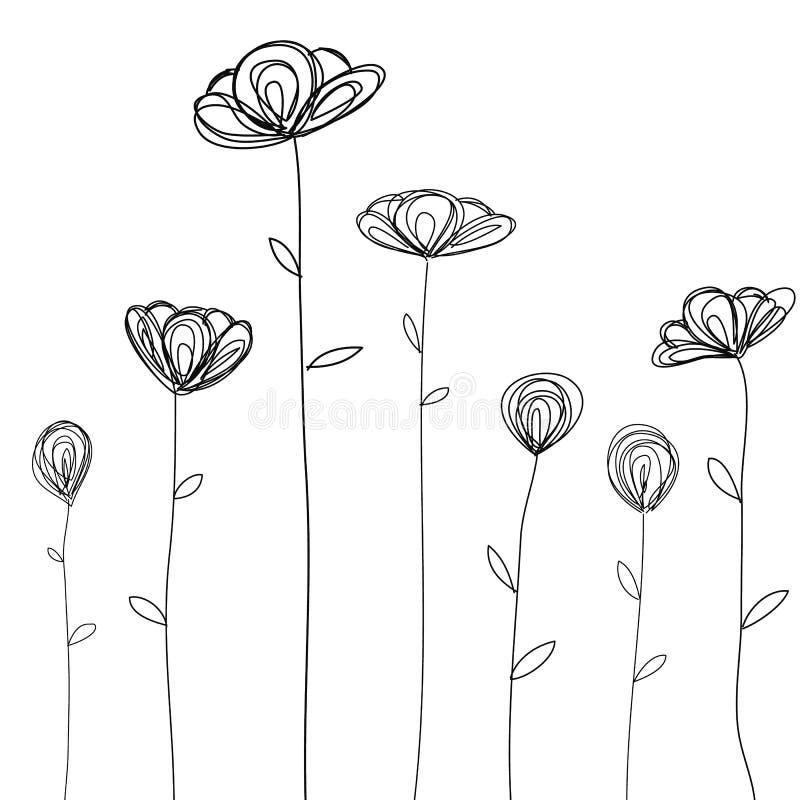 Kwiatu doodle nakreślenia odosobniony wektor ilustracja wektor