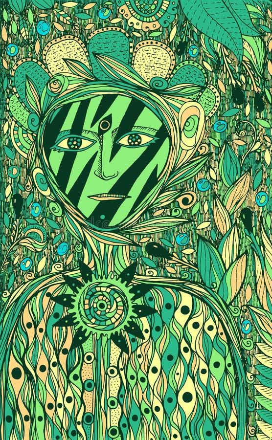 Kwiatu duch - fantazja atramentu graficzna sztuka Zielonej kreskówki surrealistyczna grafika z fantastyczną istotą r?wnie? zwr?ci ilustracji