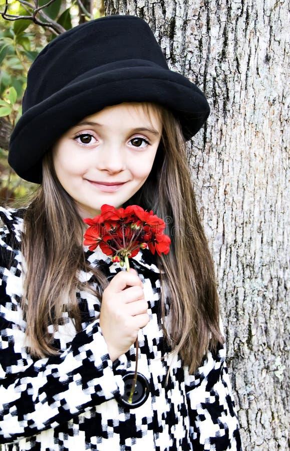 kwiatu dziewczyny czerwień fotografia stock