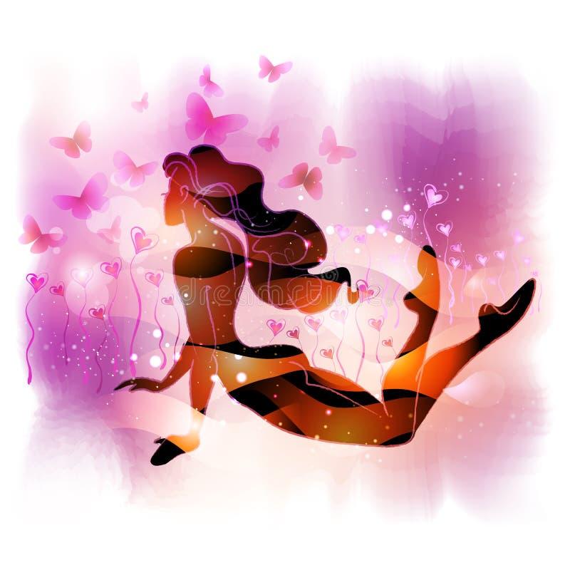 kwiatu dziewczyny miłości lying on the beach royalty ilustracja