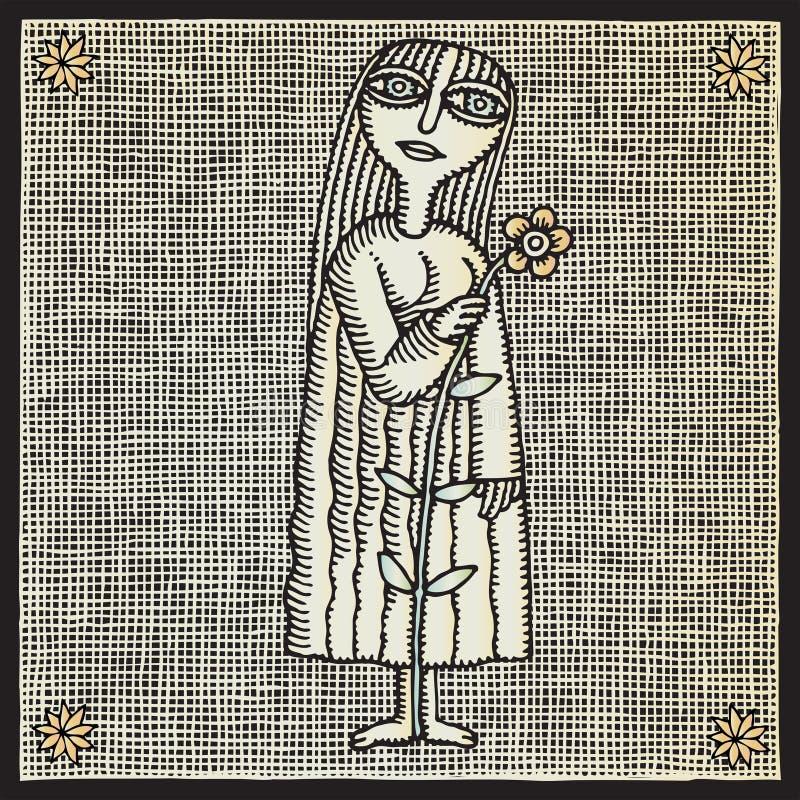 kwiatu dziewczyny woodcut royalty ilustracja