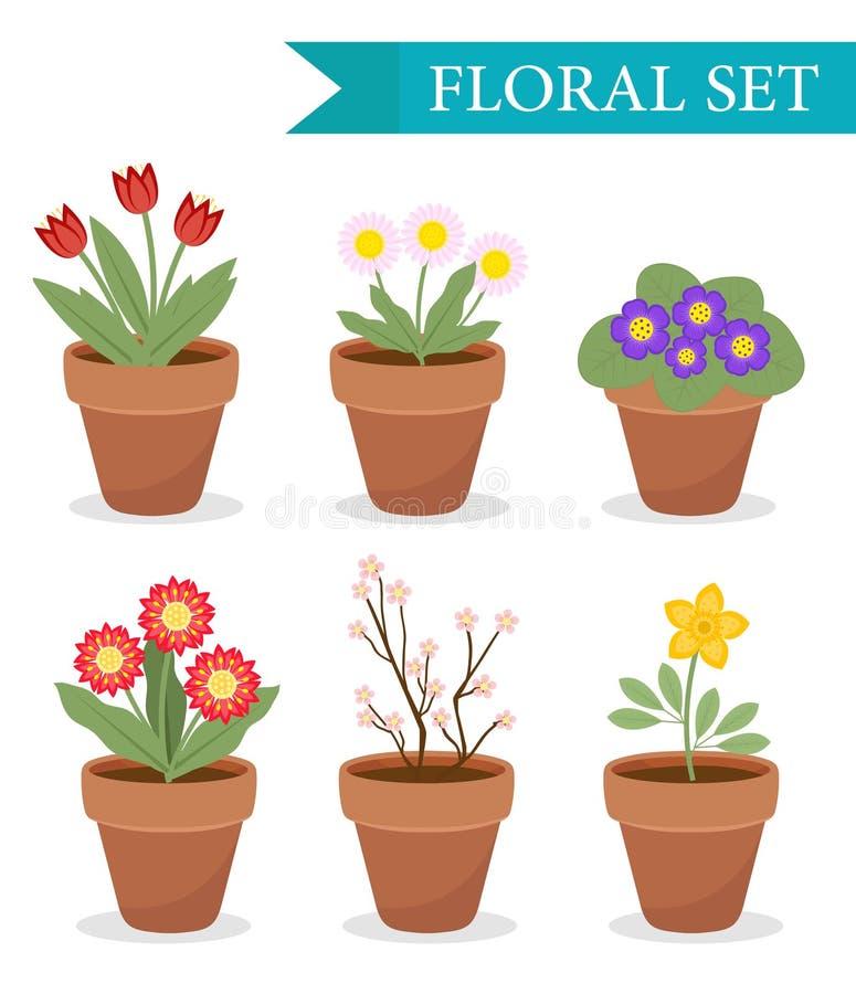 Kwiatu garnek z różnymi kwiatami ustawiającymi, mieszkanie styl Flowerpot kolekcja odizolowywająca na białym tle wektor royalty ilustracja
