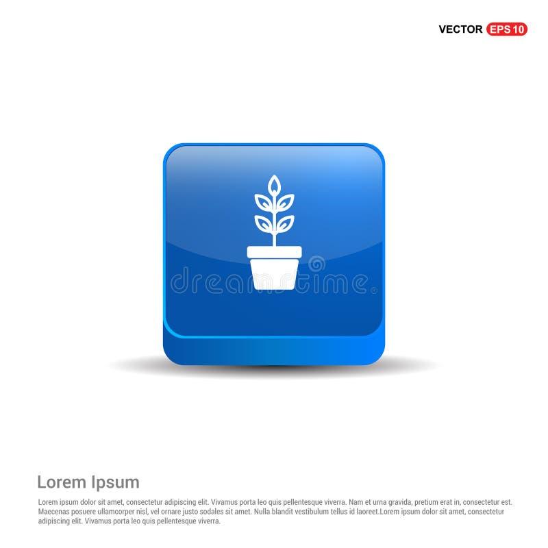 Kwiatu garnka ikona - 3d Błękitny guzik ilustracja wektor