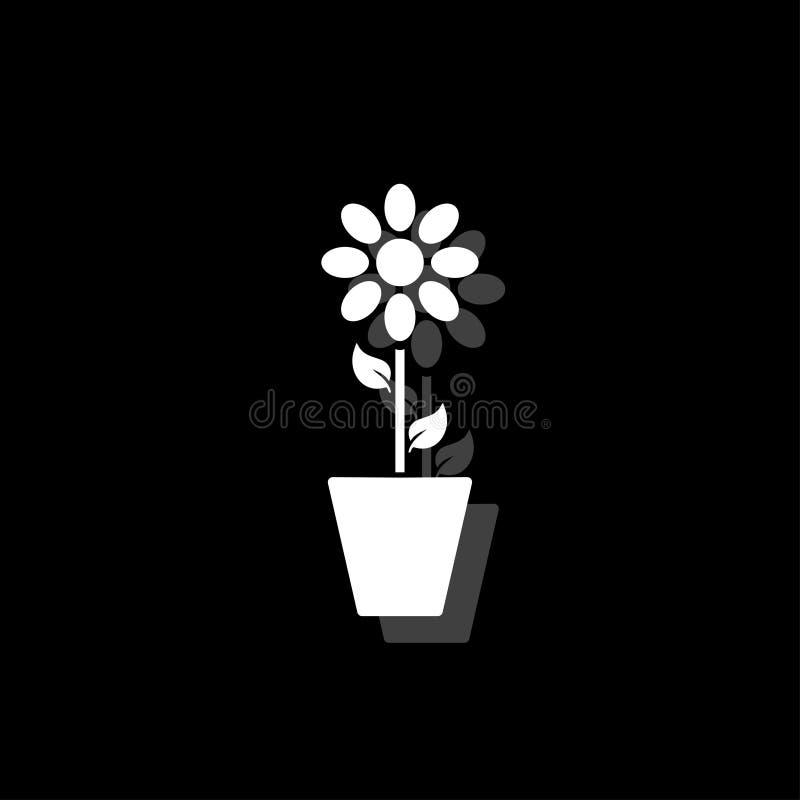 Kwiatu garnka ikony mieszkanie ilustracja wektor
