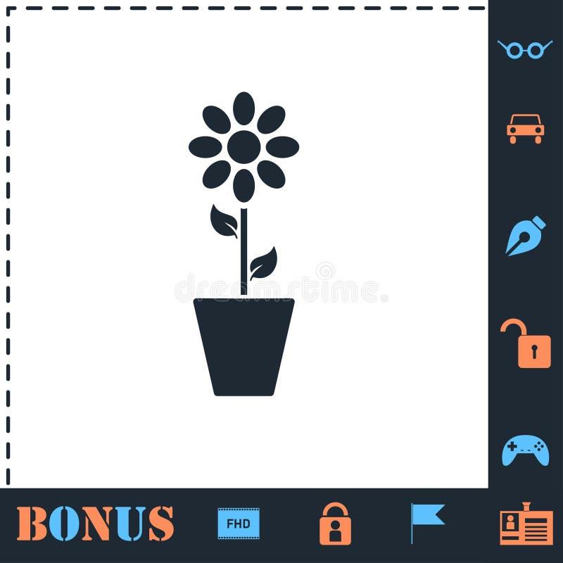 Kwiatu garnka ikony mieszkanie ilustracji