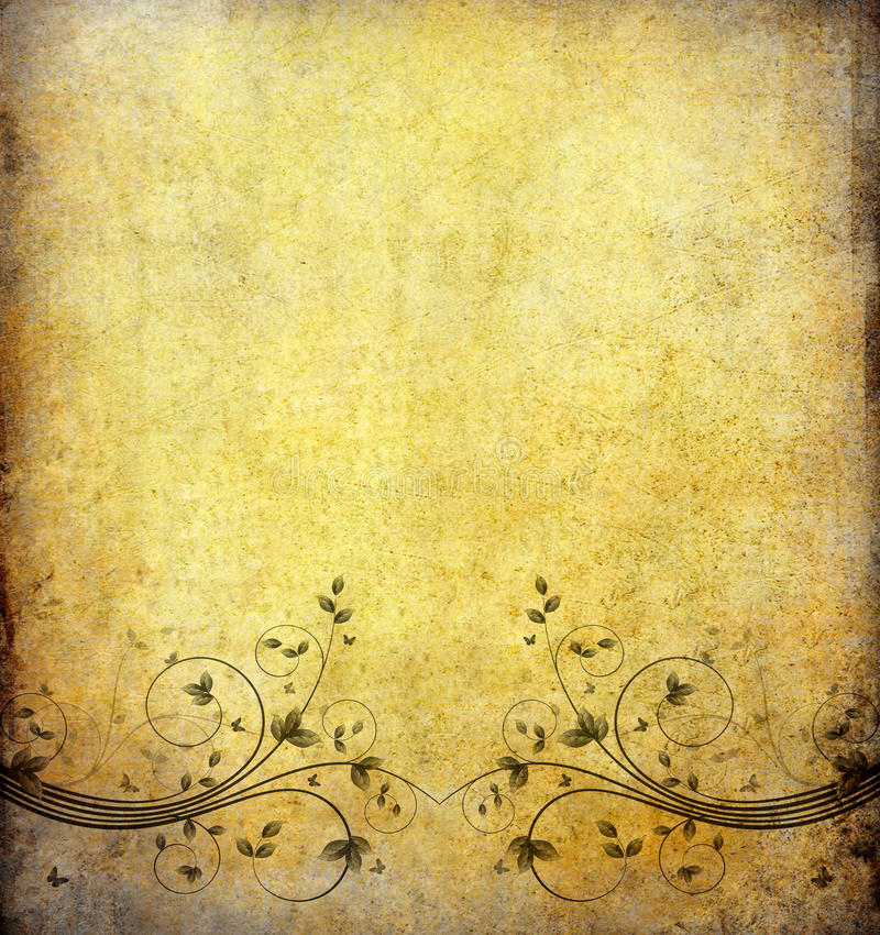 kwiatu grunge stary papierowy rocznik royalty ilustracja