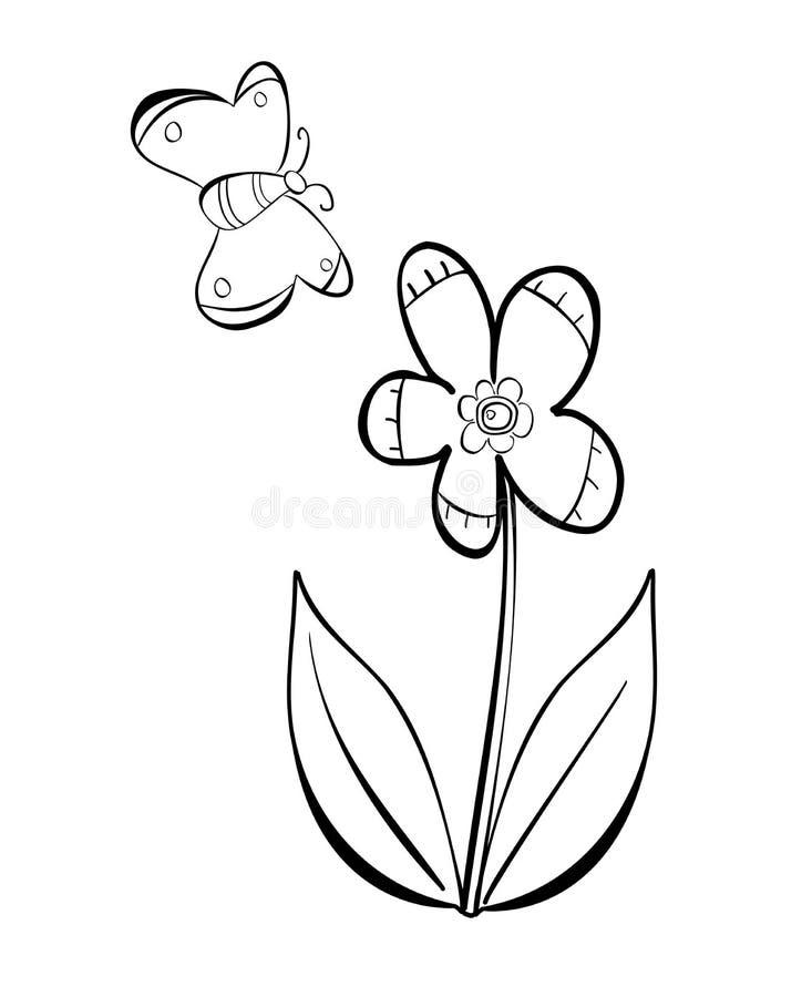 Kwiatu i motyla wektorowy doodle ilustracji