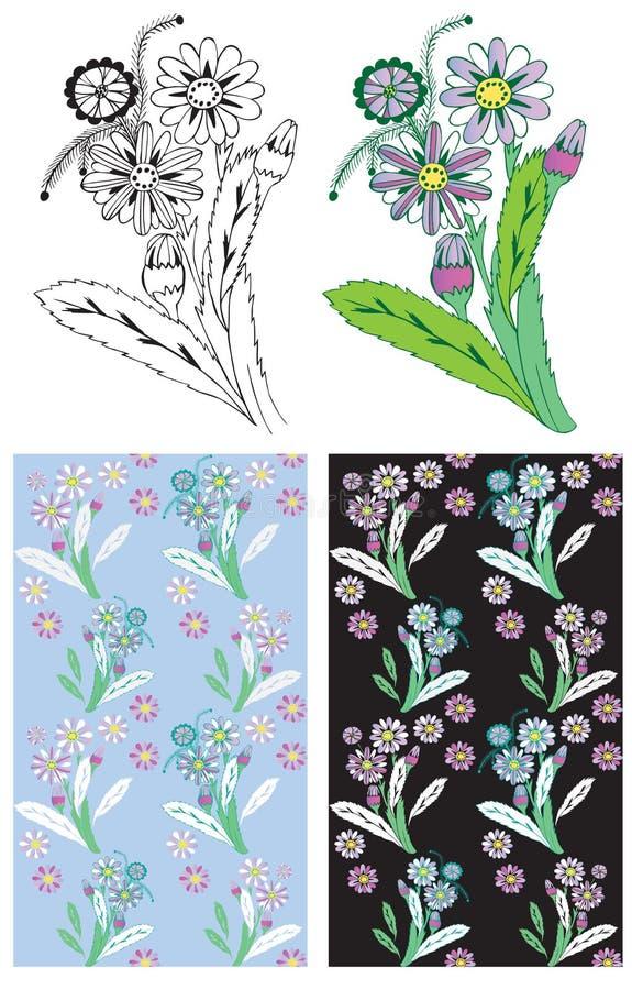 Kwiatu i rośliny tło ilustracja wektor
