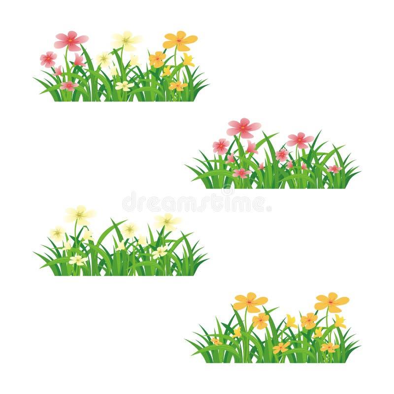 Kwiatu i trawy bezszwowy wektorowy element ilustracji