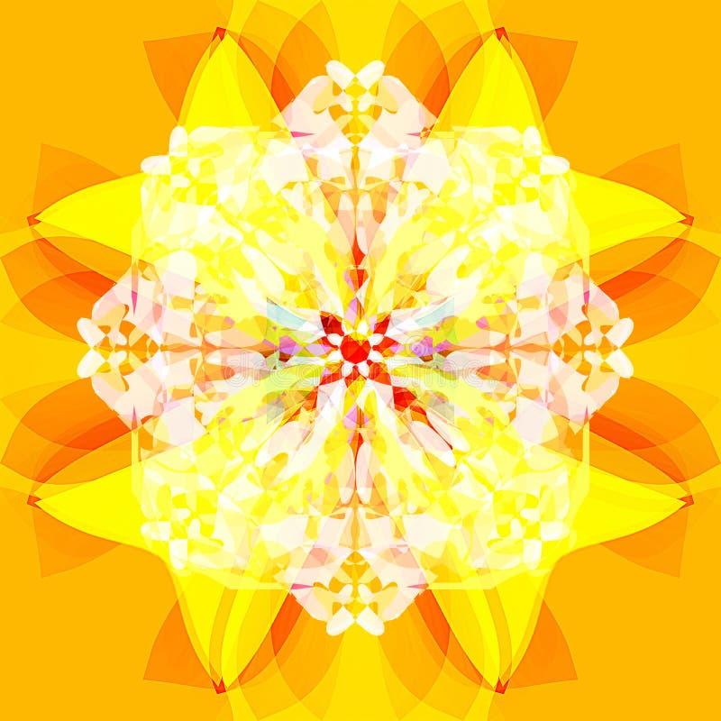 KWIATU JASKRAWY mandala Prosty pomara?czowy t?o ŚRODKOWY kwiat W kolorze żółtym, pomarańcze I bielu, Rocznika wizerunek royalty ilustracja