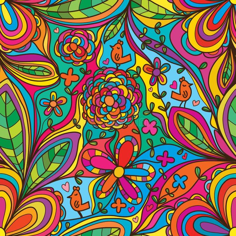 Kwiatu kąt łączy kolorowego ptaka cieszy się seamles wzór royalty ilustracja