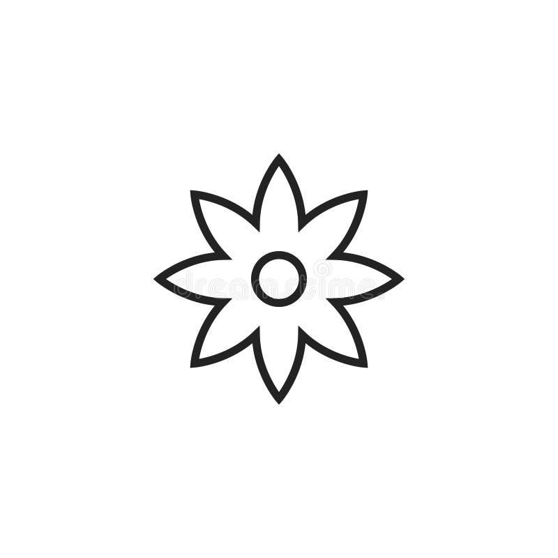 Kwiatu konturu Wektorowa ikona, symbol lub logo, ilustracja wektor