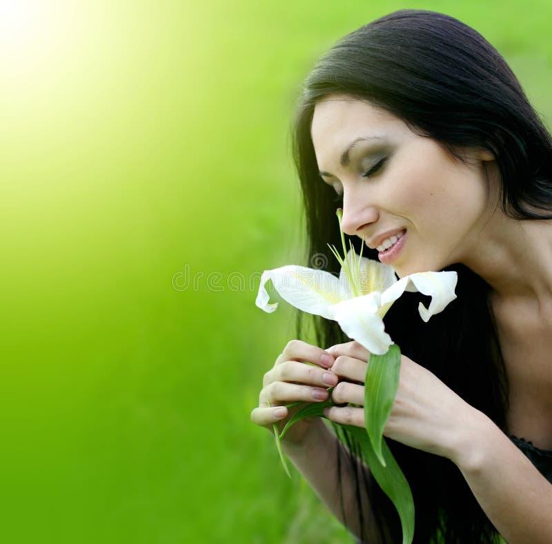 kwiatu lelui kobieta fotografia royalty free