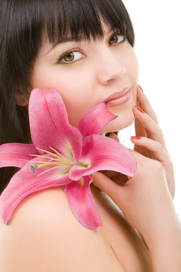 kwiatu lelui kobieta zdjęcie stock