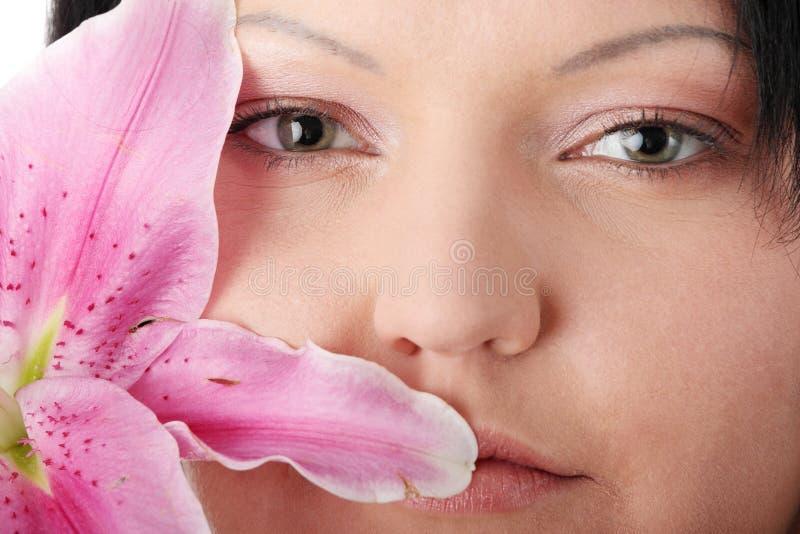 kwiatu lelui nadwaga kobieta fotografia stock