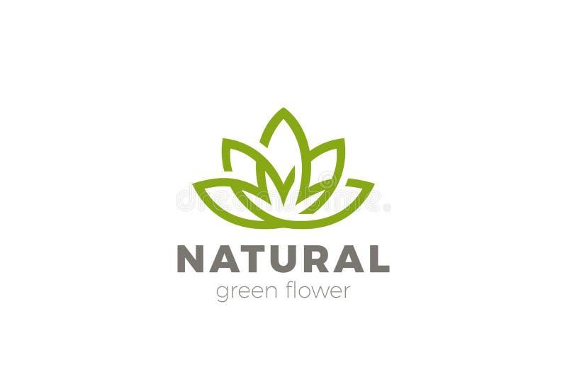 Kwiatu loga Lotosowy abstrakcjonistyczny wektor Zielony luksus Y ilustracji