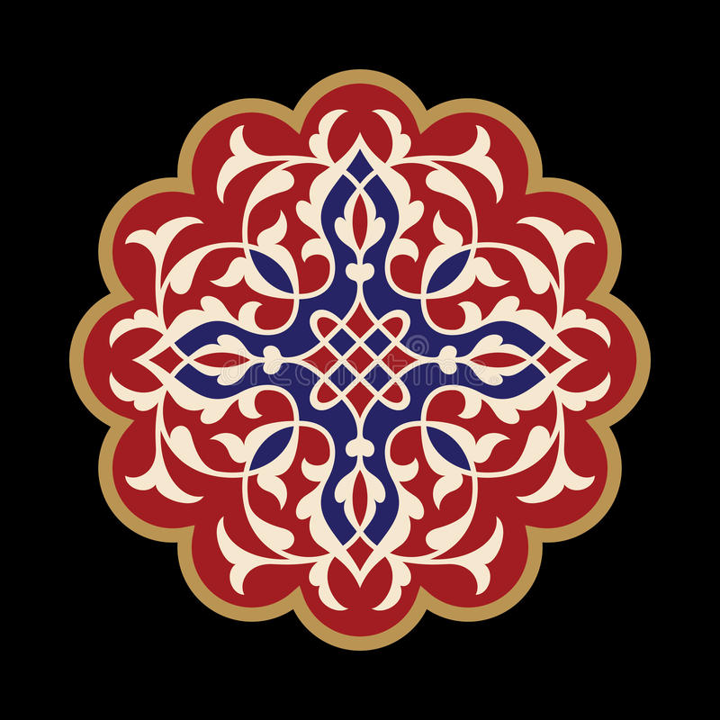 Kwiatu mandala elementu dekoracyjny rocznik Orientała wzór, wektorowa ilustracja royalty ilustracja