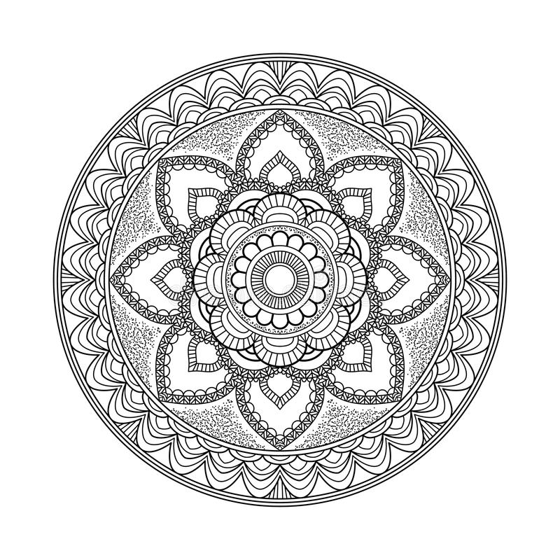 Kwiatu mandala elementu dekoracyjny rocznik Orientała wzór, wektorowa ilustracja Islam, język arabski, indianin, marokański royalty ilustracja