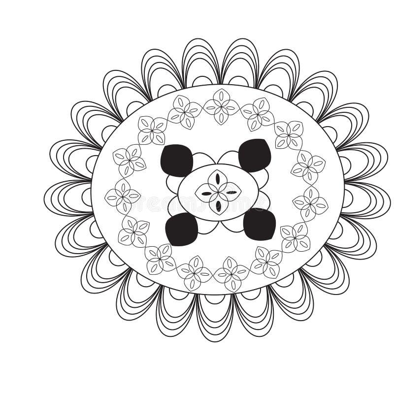 Kwiatu mandala elementu dekoracyjny rocznik Orienta?a wz?r, wektorowa ilustracja Mandala barwi stron? kurenda royalty ilustracja