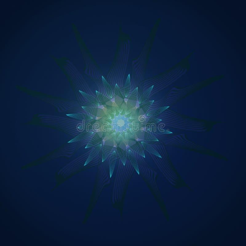 Kwiatu mandala Liniowy projekt RÓWNINY GŁĘBOKI BŁĘKITNY tło ŚRODKOWY kwiat W turkusie, seledyn ilustracja wektor