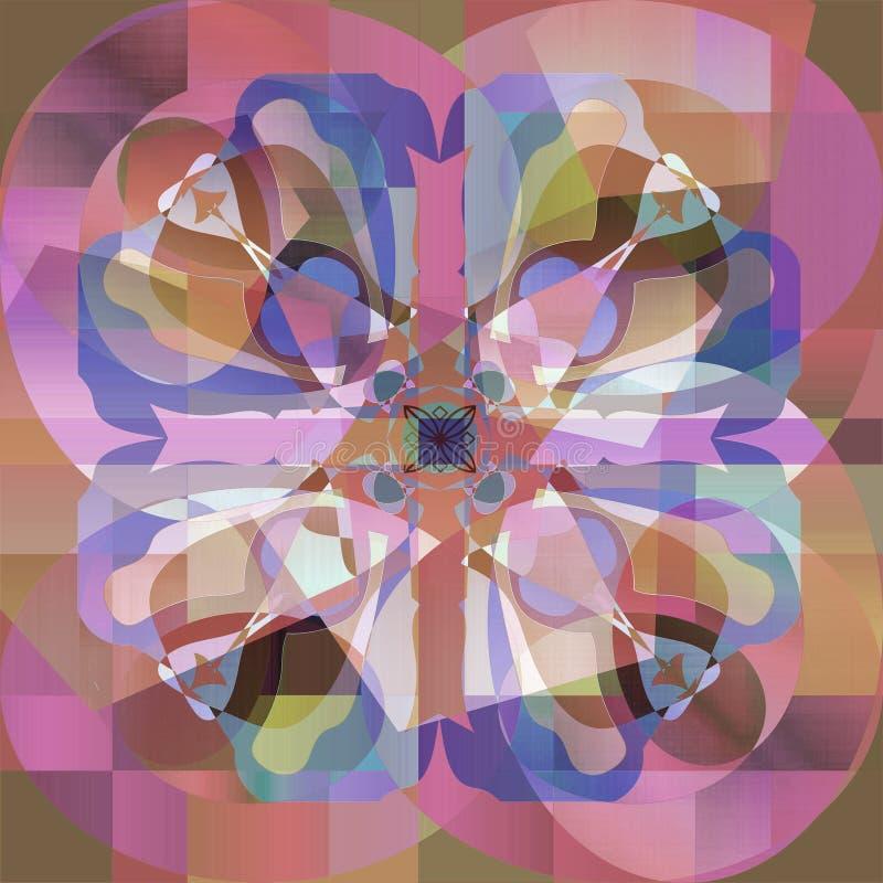 Kwiatu mandala PASTELOWYCH kolor?w bar??g ABSTRAKCJONISTYCZNY tło W brązie, menchia, purpury obraz royalty free