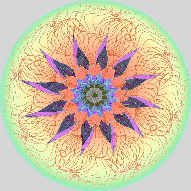 Kwiatu mandala PROSTY SZARY tło ŚRODKOWY kwiat W purpurach, pomarańcze, błękit, brąz LINIOWY ŚRODKOWY projekt W kolorze żółtym, r ilustracja wektor