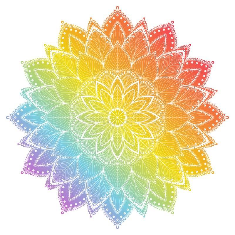 Kwiatu mandala Rocznika tatuażu dekoracyjni elementy Orientała wzór, wektorowa ilustracja royalty ilustracja