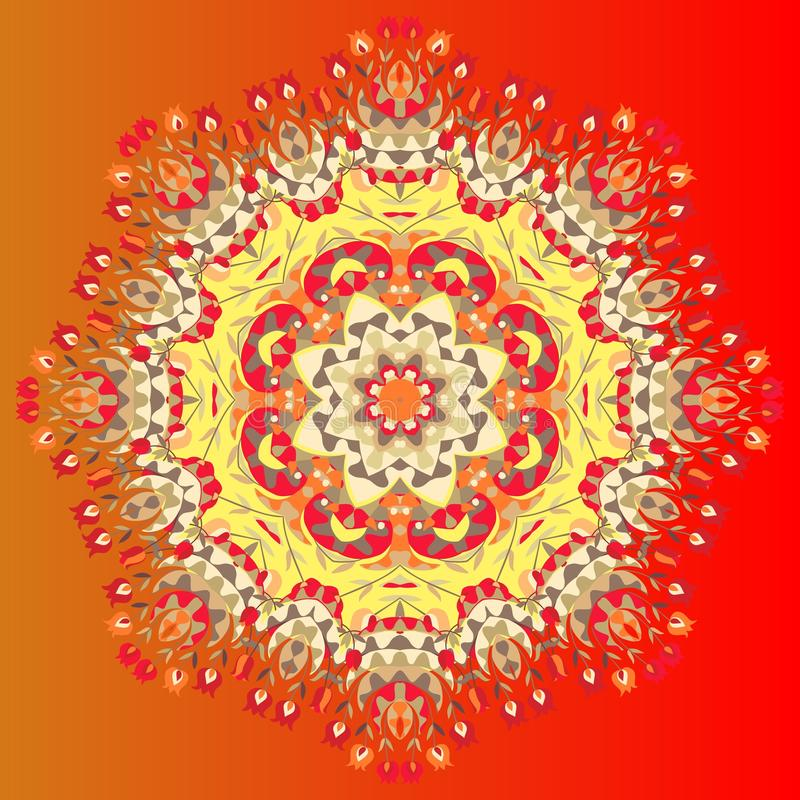 Kwiatu mandala Wektorowa ilustracja kolorowa chusta Ornamentacyjne bandany lub jedwabniczy szyja szalik ilustracja wektor