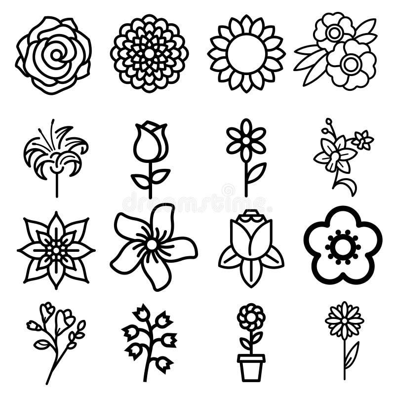 Kwiatu mieszkania linii ikony Piękne ogrodowe rośliny - chamomile, słonecznik, róża kwiat, lotos, goździk, dandelion, fiołkowy bl royalty ilustracja
