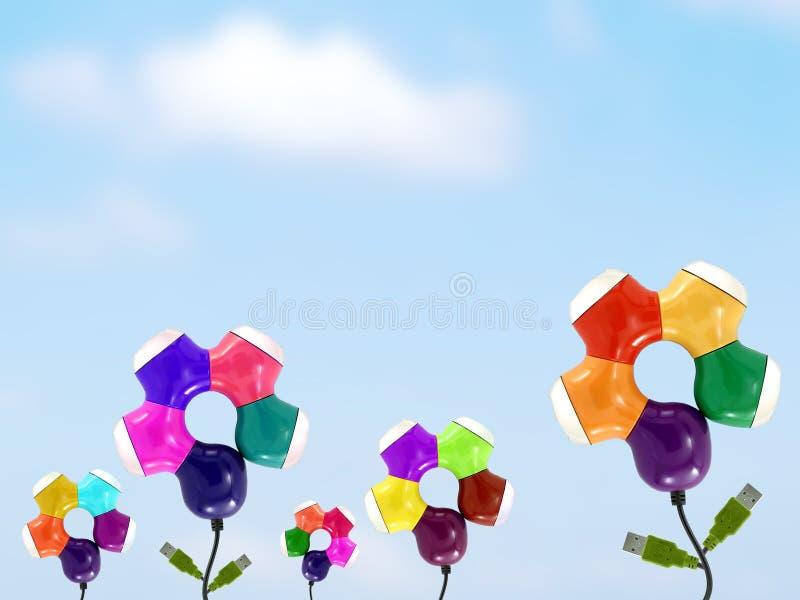 Kwiatu ogród od kolorowego USB centrum z niebieskiego nieba tłem obraz royalty free
