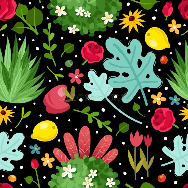 Kwiatu ogródu bezszwowy wzór ilustracji