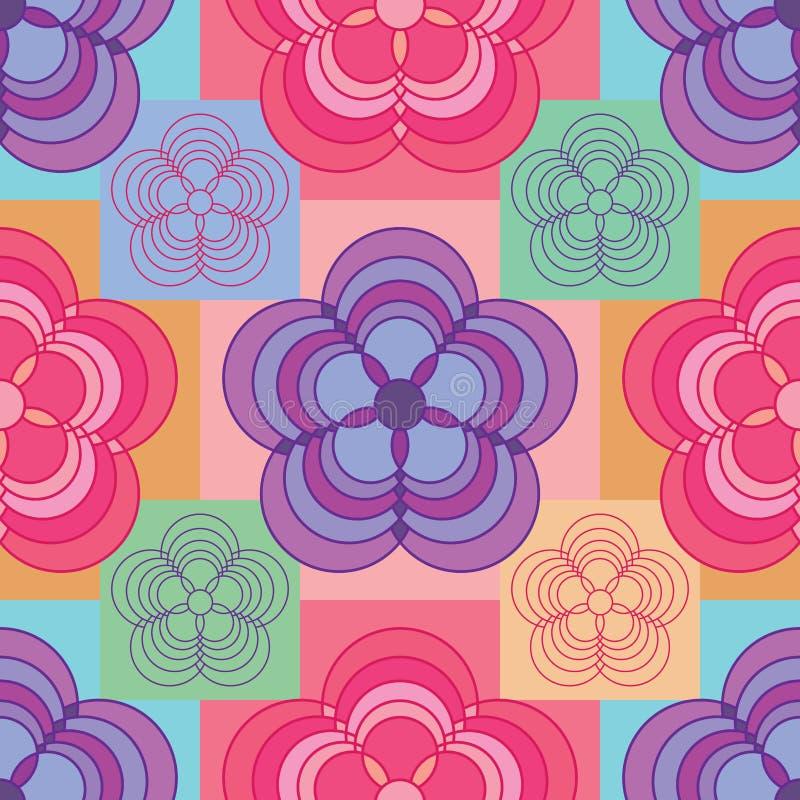 Kwiatu 5 okręgu kształta diamentowego kształta bezszwowy wzór royalty ilustracja