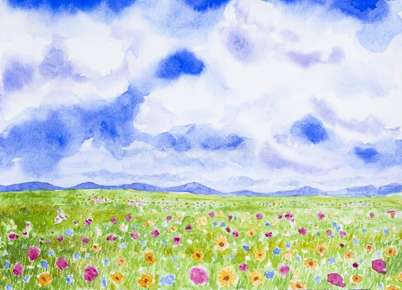 Kwiatu pola krajobrazu akwarela malująca royalty ilustracja