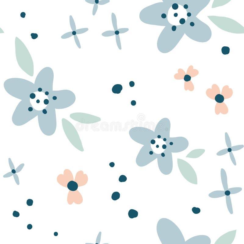 Kwiatu prosty minimalistic bezszwowy wzór royalty ilustracja