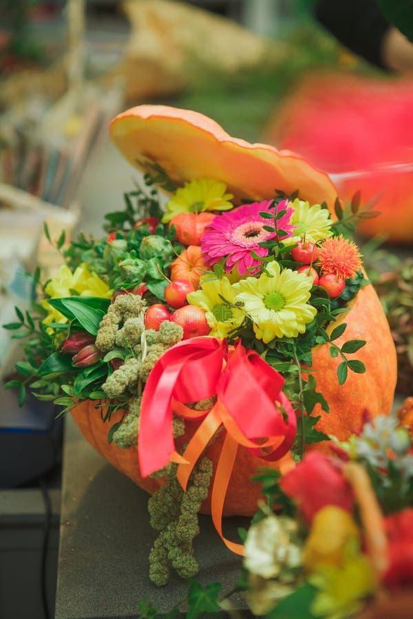 Kwiatu przygotowania z banią z czerwonym łękiem Jesień wakacje obraz stock