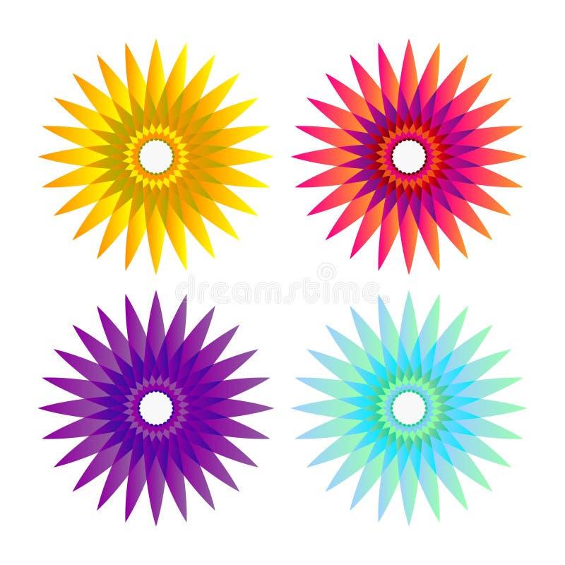 Kwiatu słońca ogienia ornament royalty ilustracja