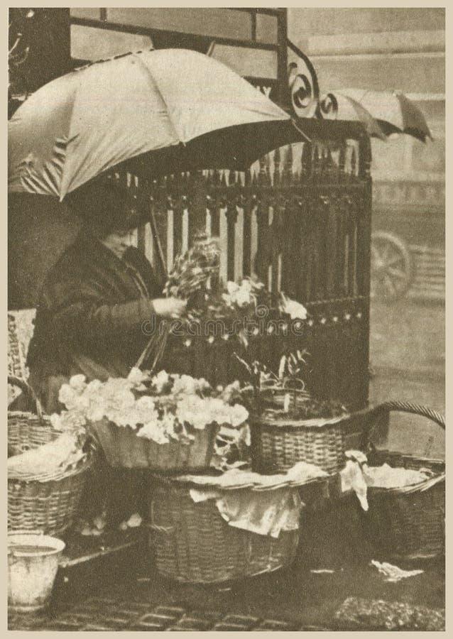 kwiatu sprzedawca jest obserwujący w jej pomyślnym stanie fotografia stock