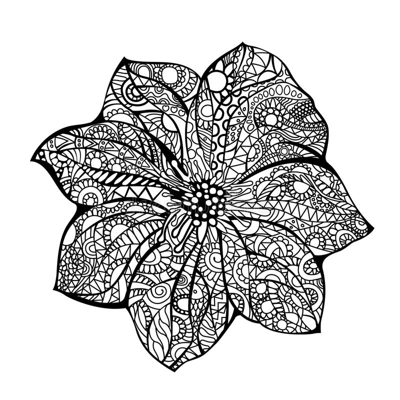 Kwiatu wektorowa ilustracyjna Czarna biała ręka rysujący doodle wzór etniczne Afrykanin, hindus, totem, projekt Nakreślenie dla ilustracja wektor