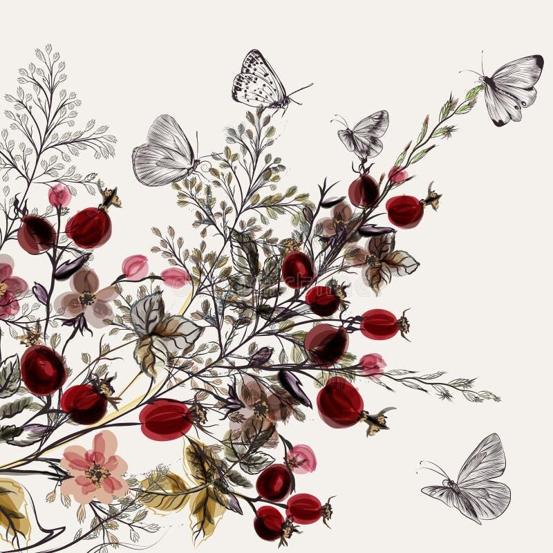 Kwiatu wektorowy tło z roślinami royalty ilustracja