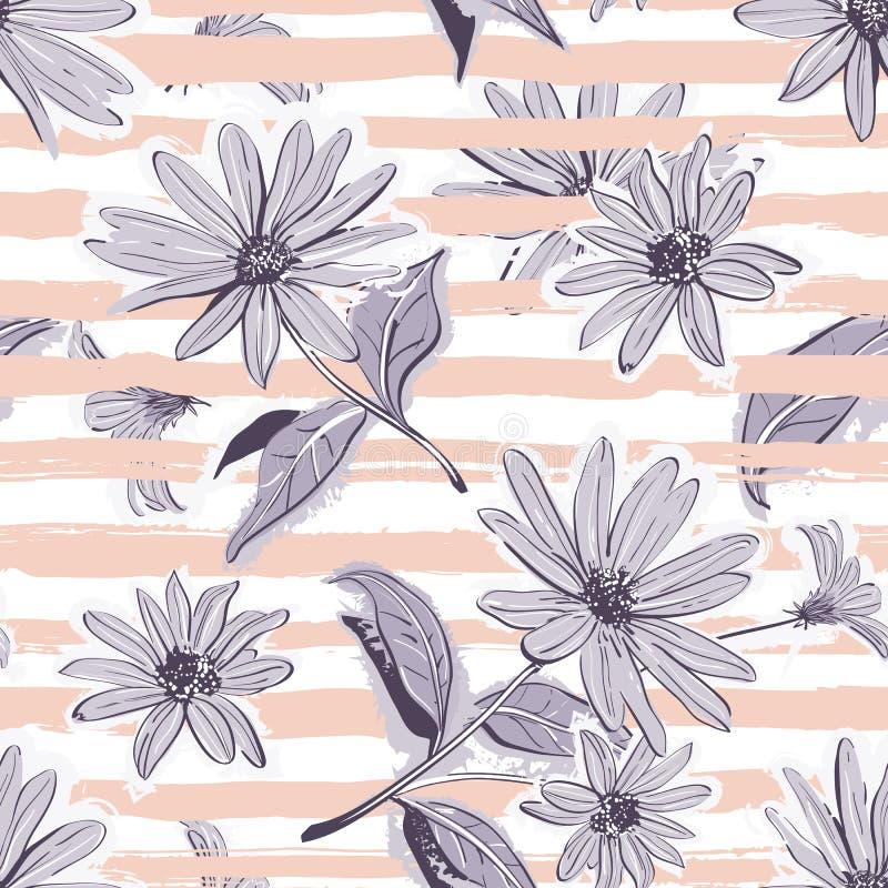 Kwiatu wzoru bezszwowy Elegancki pastel paskujący tło, rocznik kwitnie tapetę ilustracji